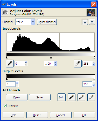 GIMP Levels Dialog Box With Auto Balance Marked As