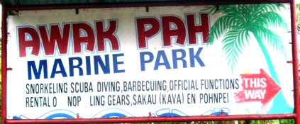 Sign entrance for Awak Pah Marine Park - Courtesy of www.comfsm.fm